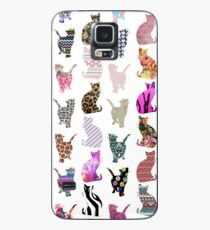 Girly Whimsical Cats aztec floral stripes pattern Case/Skin for Samsung Galaxy