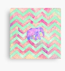 Whimsical Purple Elephant Mint Green Pink Chevron Metal Print