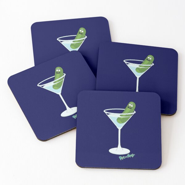 Pickle Rick in a Cocktail Glass, Rick and Morty Coasters (Set of 4)
