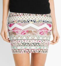 Girly Pink White Floral Abstract Aztec Pattern Mini Skirt
