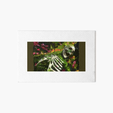 Decaying skeleton with flowers Art Board Print