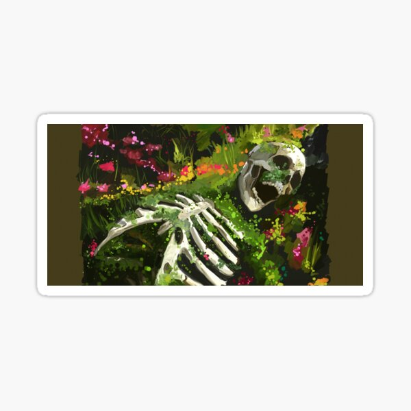 Decaying skeleton with flowers Sticker