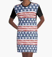 Grunged USA Proud Graphic T-Shirt Dress