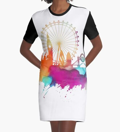 London skyline watercolor Graphic T-Shirt Dress