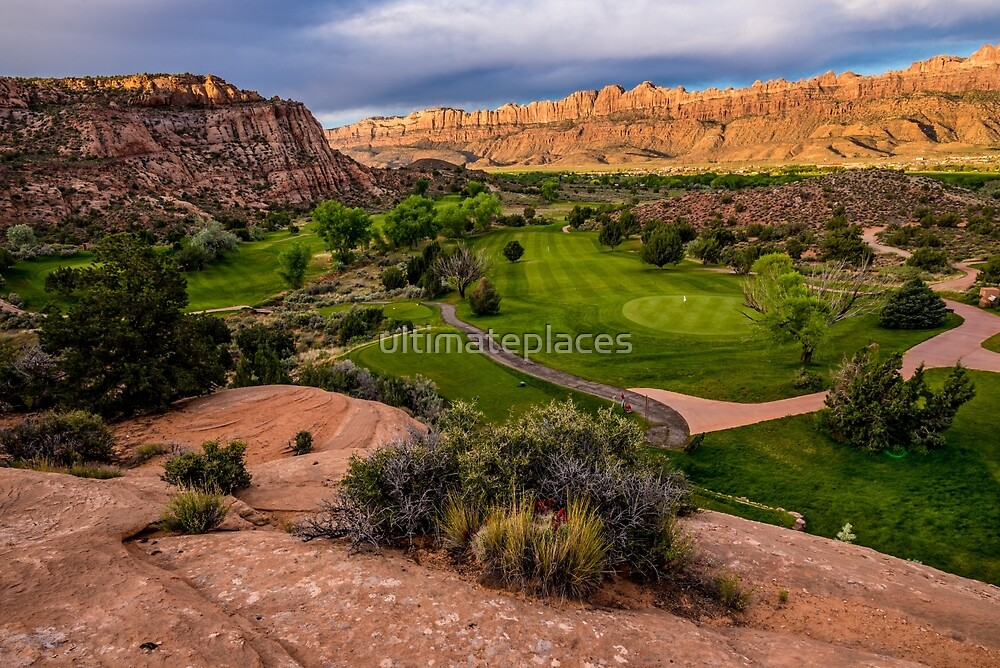 Moab Desert Canyon Golf Course At Sunrise by ultimateplaces