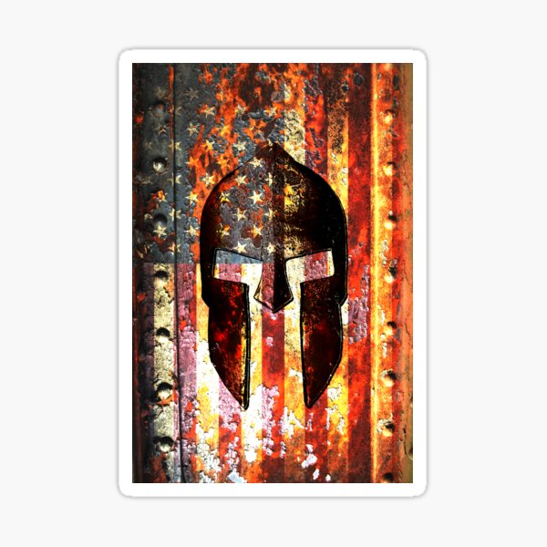 American Flag And Spartan Helmet On Rusted Metal Door - Molon Labe Sticker
