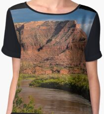 Fisher Towers and Colorado River near Sunset - Utah Chiffon Top