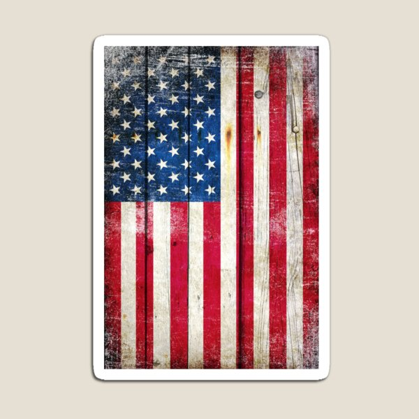 Distressed American Flag On Wood - Vertical Magnet