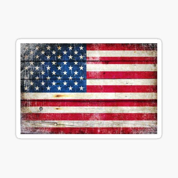 Distressed American Flag On Wood Planks - Horizontal Sticker