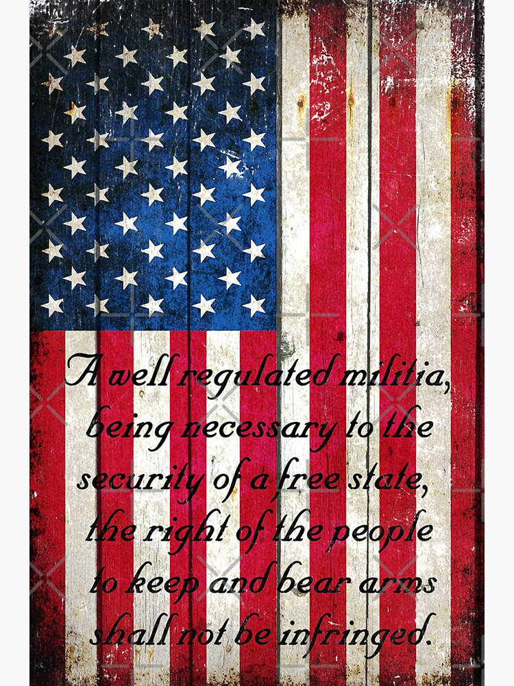 Vintage American Flag And 2nd Amendment On Old Wood Planks by MolonLabeArt