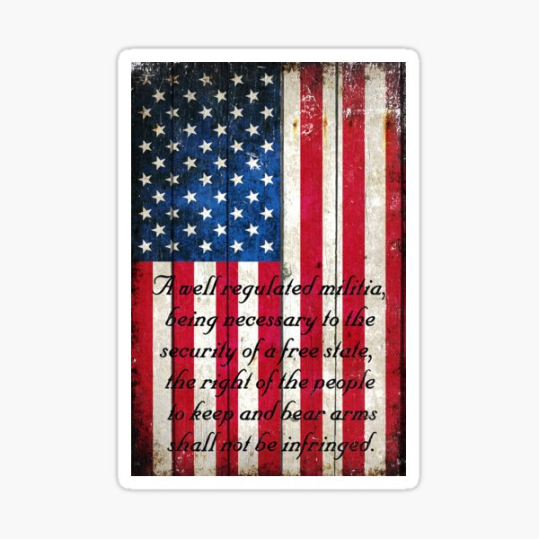 Vintage American Flag And 2nd Amendment On Old Wood Planks Sticker