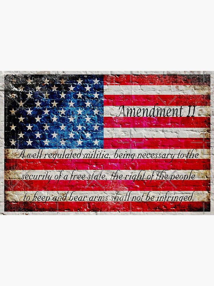 Distressed American Flag And Second Amendment On White Bricks Wall by MolonLabeArt