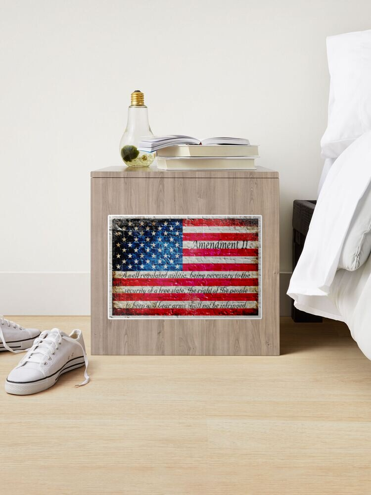 Alternate view of Distressed American Flag And Second Amendment On White Bricks Wall Sticker