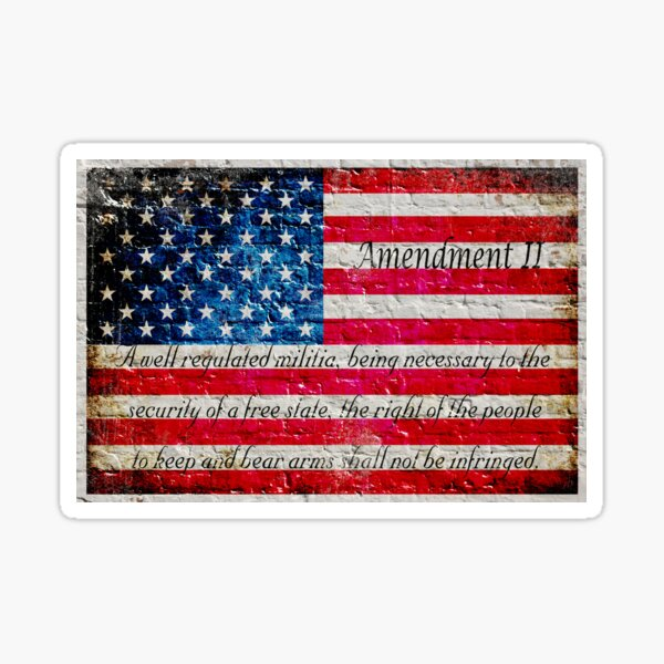 Distressed American Flag And Second Amendment On White Bricks Wall Sticker