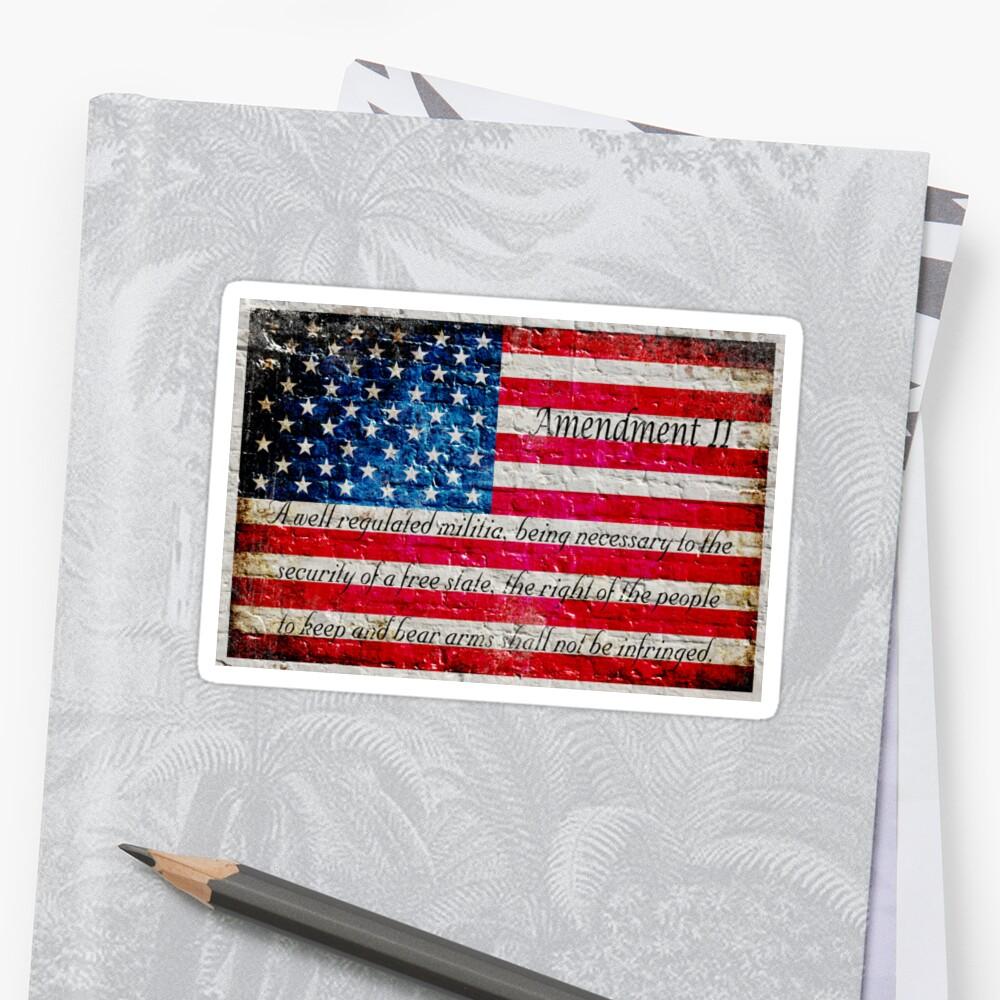 Beunruhigte amerikanische Flagge und zweite Änderung auf weißer Ziegelstein-Wand Sticker