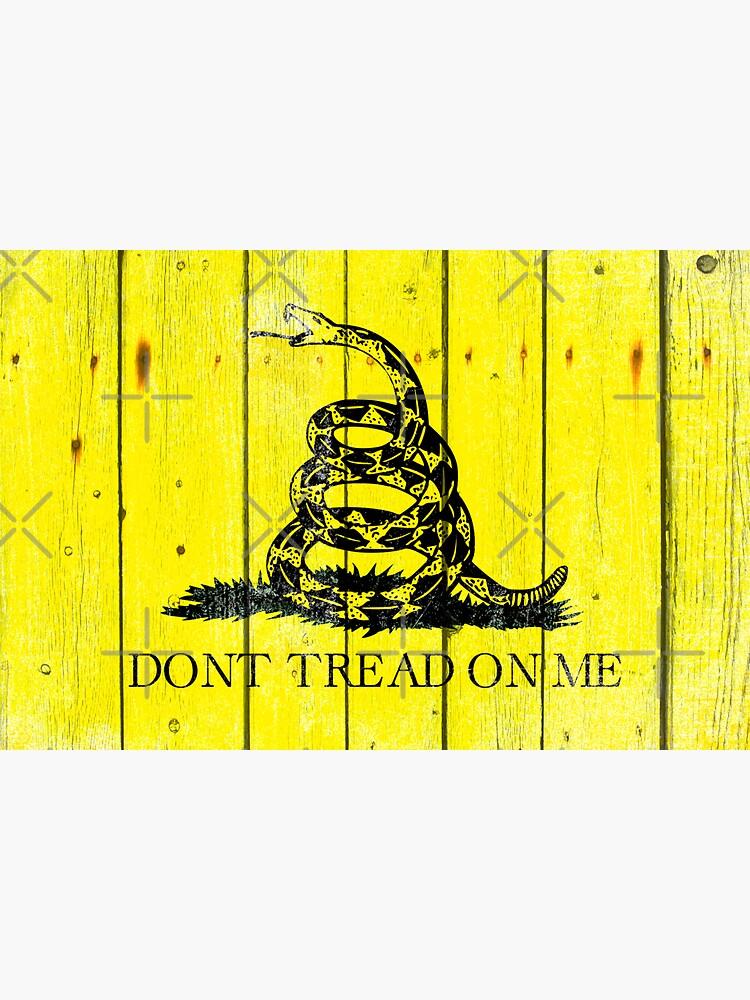 Gadsden Flag On Old Wood Planks by MolonLabeArt