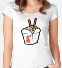 Take-Out Noodles Box Pattern Women's Fitted Scoop T-Shirt