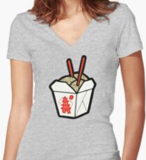 Take-Out Noodles Box Pattern Women's Fitted V-Neck T-Shirt