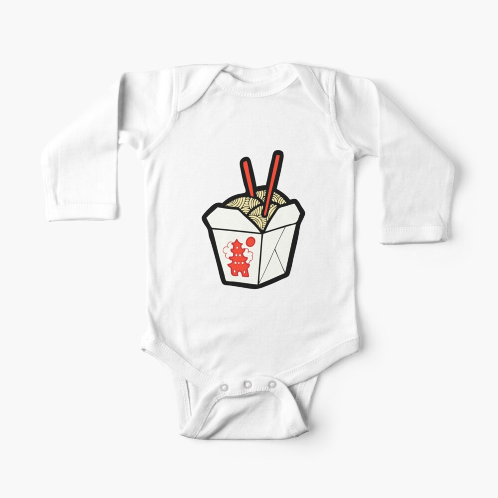 Take-Out Noodles Box Pattern Long Sleeve Baby One-Piece