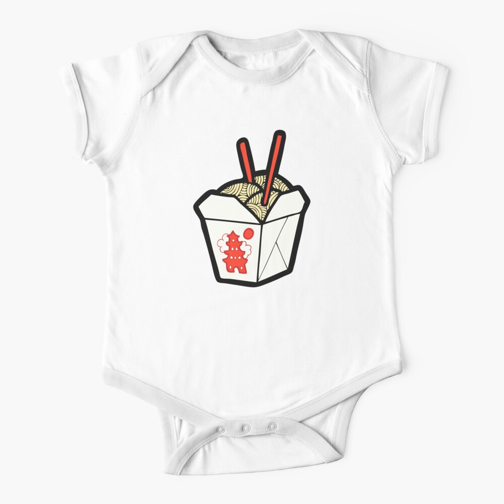Take-Out Noodles Box Pattern Short Sleeve Baby One-Piece