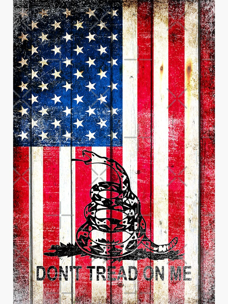 Viper On American Flag On Old Wood Planks Vertical by MolonLabeArt
