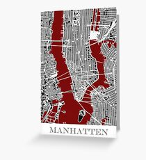 Map of Manhattan - Red  Greeting Card