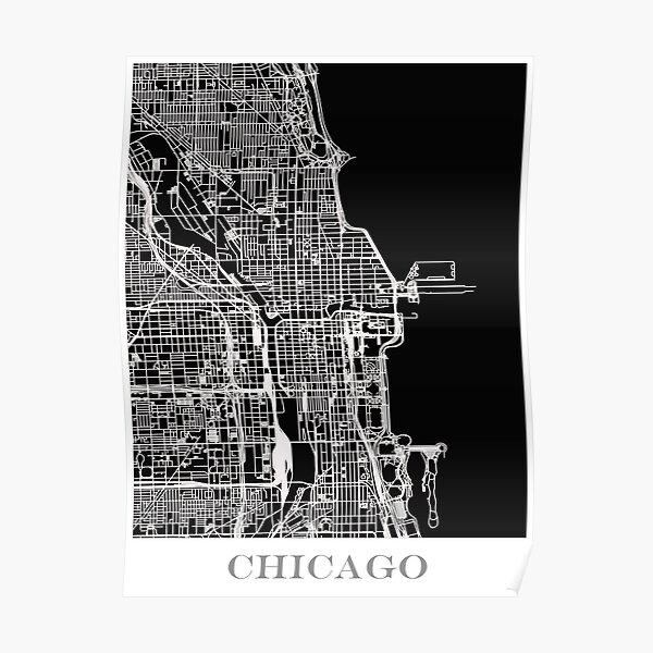 Map of Chicago - Black Poster