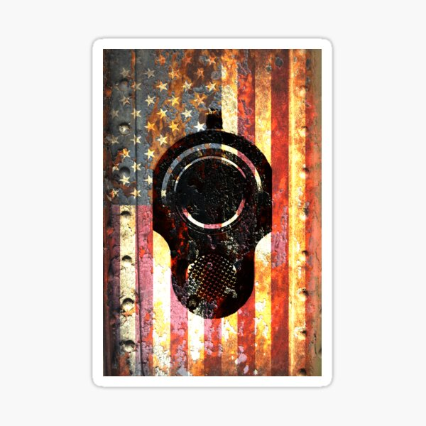 M1911 Colt 45 On Rusted American Flag Sticker
