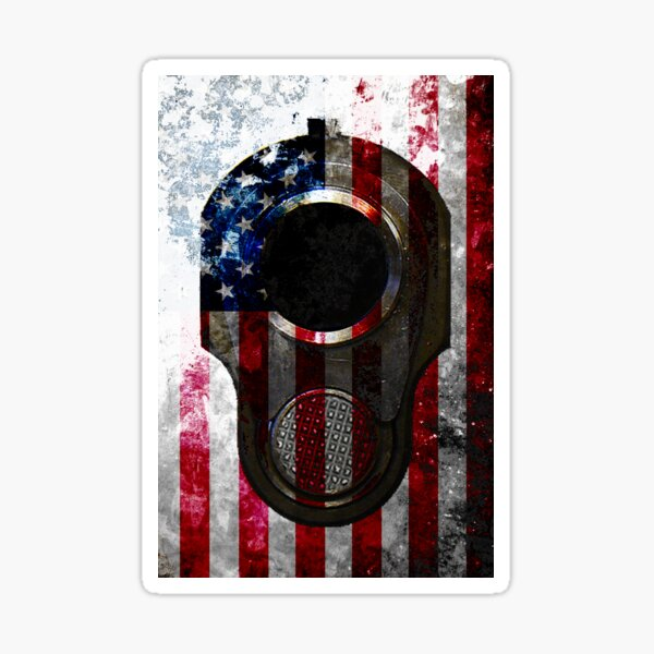 M1911 Colt 45 Muzzle And American Flag On Distressed Metal Sheet Sticker