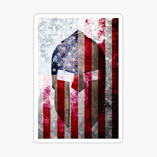 Molon Labe - Spartan Helmet Across An American Flag On Distressed Metal Sheet Sticker