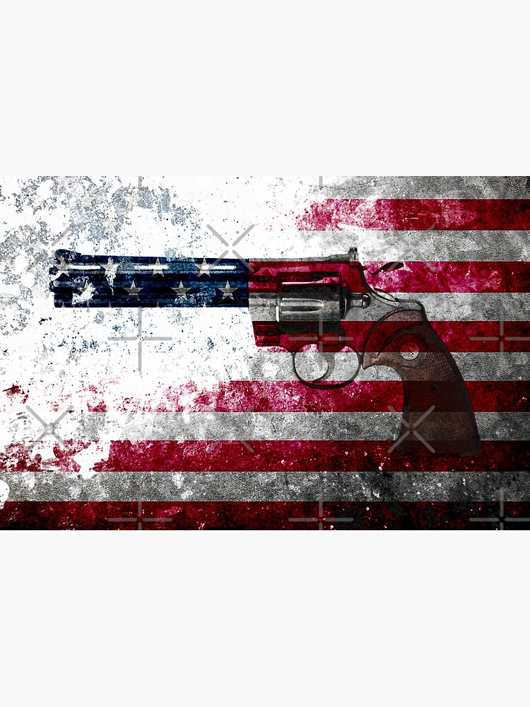 Colt Python 357 Mag On American Flag by MolonLabeArt