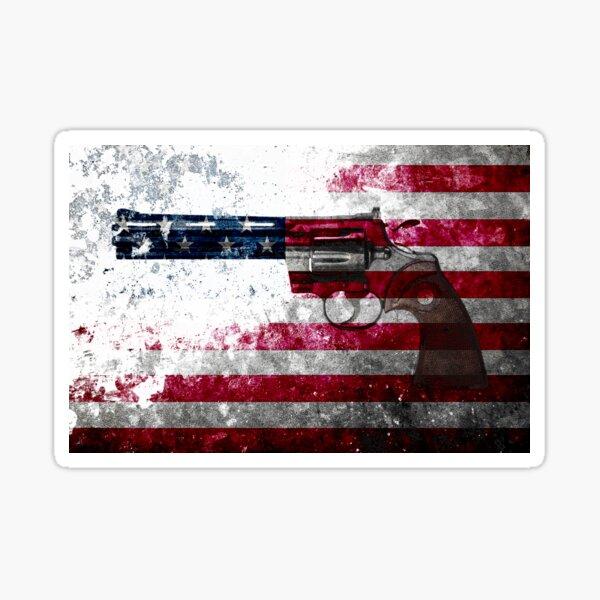 Colt Python 357 Mag On American Flag Sticker