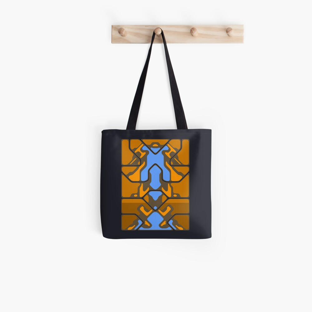 Orange Organic Grid Design Tote Bag