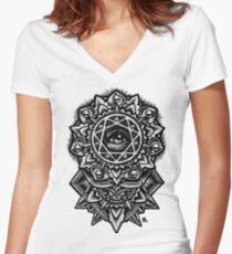 Eye of God Flower Mandala Women's Fitted V-Neck T-Shirt