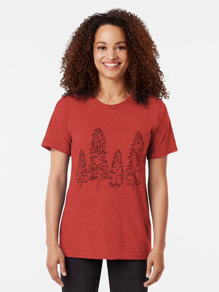 Alternate view of Pine Trees  Tri-blend T-Shirt