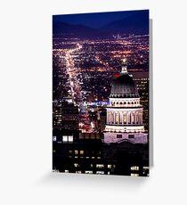 Utah Capitol And State Street At Night Greeting Card