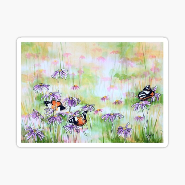 Butterflies Enjoying a Garden of Aster Daisies Sticker