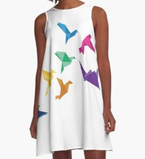 Origami Birds flying print A-Line Dress