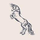 Rearing Horse in Dark Ink on Neutral by ThistleandFox