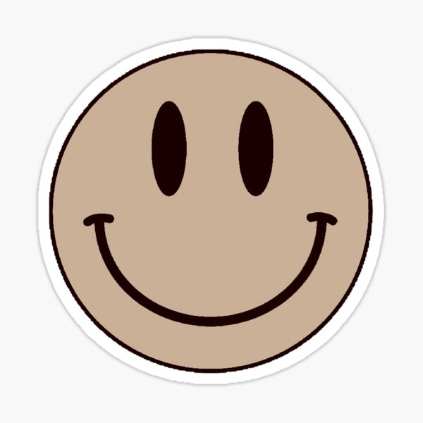 sepia smiley face Sticker