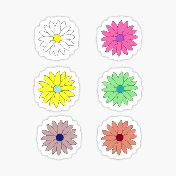 Pack of Colorful Daisies  Sticker