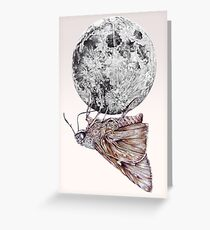 In which a moth is enticed by the light of the moon Greeting Card