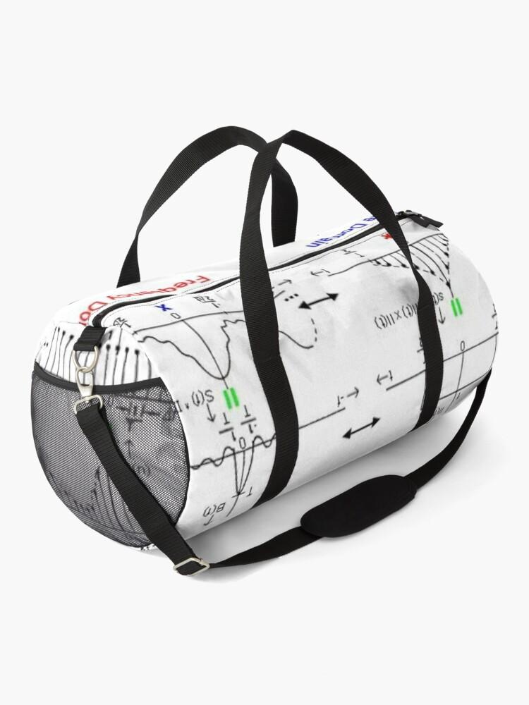 Alternate view of #Discrete #Fourier #Transform. #Diagram, graph, formula, chalk out, illustration, physics, graph plot, symbol, guidance, draft, sketch, science, research, scientific experiment Duffle Bag