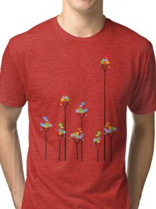 Colorful Tweet Birds On Dotted Trees With Dark Branches Tri-blend T-Shirt
