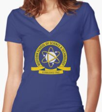 Midtown School of Science and Technology Logo Women's Fitted V-Neck T-Shirt