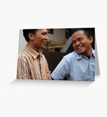 man laughing expression Greeting Card