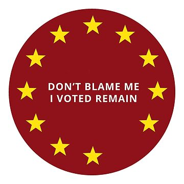 Dont Blame Me, I Voted to Remain in the European Union. by west12345