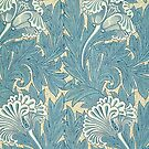 William Morris Tulip furnishing fabric in Blue by cinn
