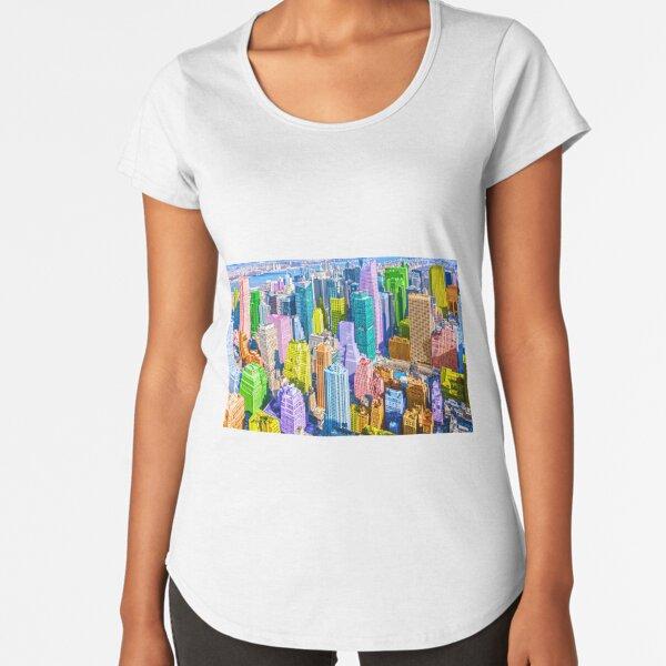 Colorful Pop Art Styled New York City NYC Manhattan Premium Scoop T-Shirt