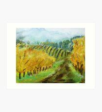 Oregon Vineyard Acrylic Painting Art Print